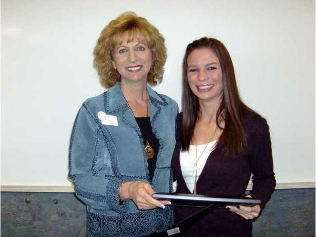 Award chairwoman Pam Jaffke with Ashley Kramer, winner of the Violet Richardson Award.