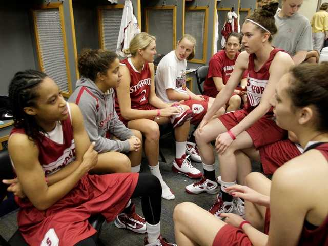 Stanford players gather in the locker room before a practice at the NCAA Women's Final Four college basketball tournament Monday, April 5, 2010, in San Antonio, Texas. Stanford plays Connecticut for the national championship Tuesday night.