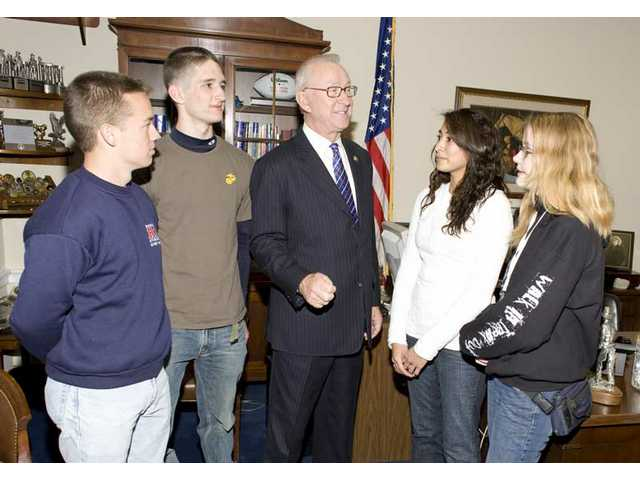 "U.S. Congressman Howard P. ""Buck"" McKeon (R-Santa Clarita) meets with members of the senior class of Academy of the Canyons in his Washington, D.C., office Monday."