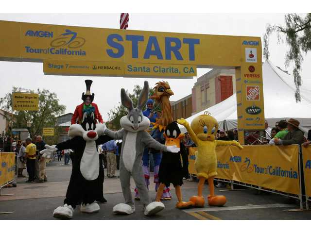 Daffy Duck, Bugs Bunny, Tweety and other characters from Six Flags Magic Mountain added to the Amgen Tour of California cycle race pre-start festivities on Town Center Drive in Santa Clarita Saturday.
