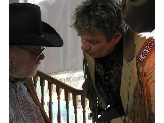 Harry Carey Jr. and Martin Kove chew the fat a while in the lobby of the Canyon Theatre Guild after the Western Walk of Stars ceremony on Main Street in Old Town Newhall April 28, 2005.