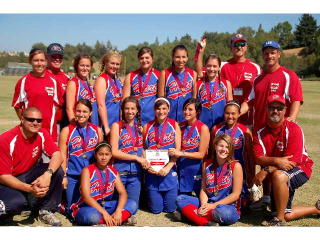 Pictured from front to back first row: Diana Mendoza and Alexis Williams middle row: Coach Carlos Martinez, Zoe Arroyo, Savannah Martinez, Bianca Bullock, Erica Silvera, Chelsea Dolan, and Coach Rodney Erranova . Back row: Coach Courtney Ferrel, Coach Don Blackburn, Sierra Gearhart, Taylor Erranova, Stephanie Kurowski, Brooke Villanueva, Megan Klesk, Coach Mike Kurowski and Manager Tim Bullock.