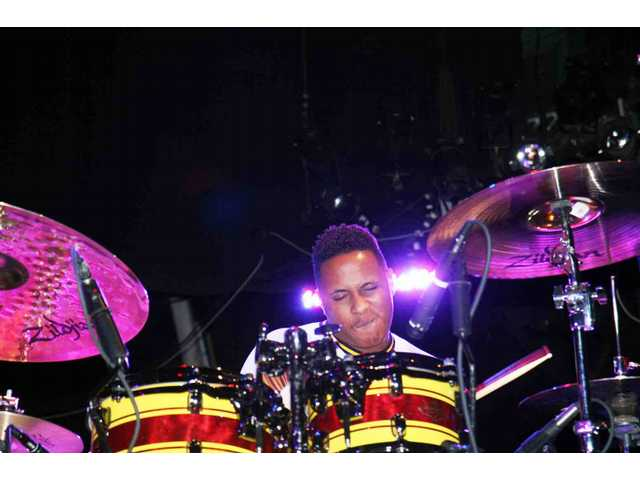Ronald Bruner Jr. and his band were the first of two groups playing the Pro Drum Shop 50th birthday party at the Avalon in Hollywood Saturday.