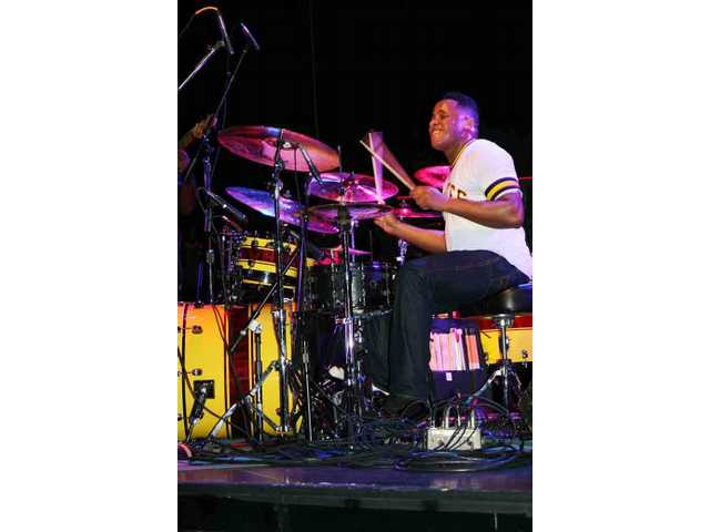 Ronald Bruner Jr. rips on his Tama kit during the set by his quartet, the Bruner Brothers, at Pro Drum Shop's 50th birthday party at the Avalon in Hollywood Saturday.
