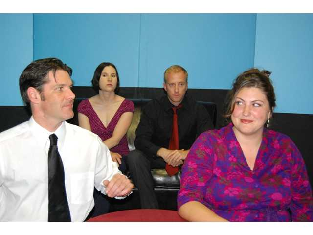 "The stars of ""Fat Pig,"" with Shane Stevens and Joy Nash in the front and Tyler Brooks and Leslie Connelly in the back (left to right)."