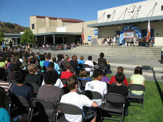 Students, staff, parents, district administrators and elected officials gathered in the outdoor amphitheater at Rancho Pico Junior High School recently to celebrate the school's designation as a California Distinguished School.
