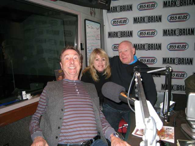 """Magical History Tour"" conductor Gillian ""Lovely Rita"" Lomax is flanked by Eric Idle (left) and Neil Innes of the legendary Beatles parody group The Rutles during a recent segment on the air at KLOS 95.5/Los Angeles."