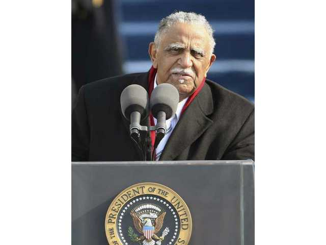 The Rev. Joseph E. Lowery gives the benediction at the end of the swearing-in ceremony at the U.S. Capitol in Washington, D.C.,Tuesday, Jan. 20, 2009.