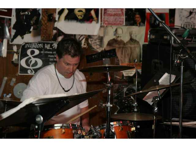 Mama-O drummer Tim McIntyre lays down the backbeat at the band's Baked Potato gig in January 2009.