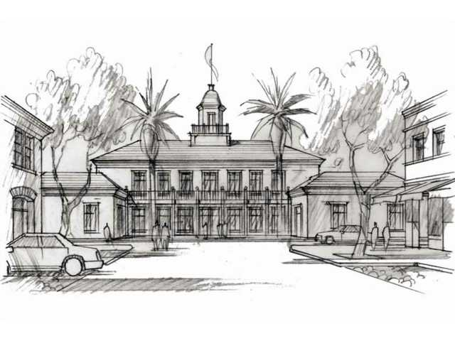 An artist's illustration shows Newhall's proposed library, which would cap one end of Main Street.