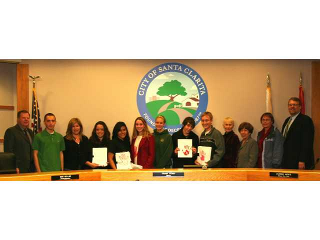 Mayor Frank Ferry (far right) and the Santa Clarita City Council with members of the Student Task Force of the Human Rights Watch gathered in council chambers at the Feb. 10 City Council meeting.