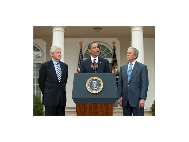Former President Bill Clinton, President Barack Obama and former President George W. Bush gathered in the Rose Garden at the White House after the earthquake in Haiti to announce establishment of the Clinton Bush Haiti Fund.