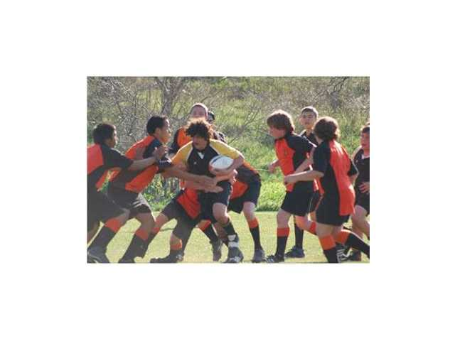 SCV Youth Rugby players vie for points during a game last season.