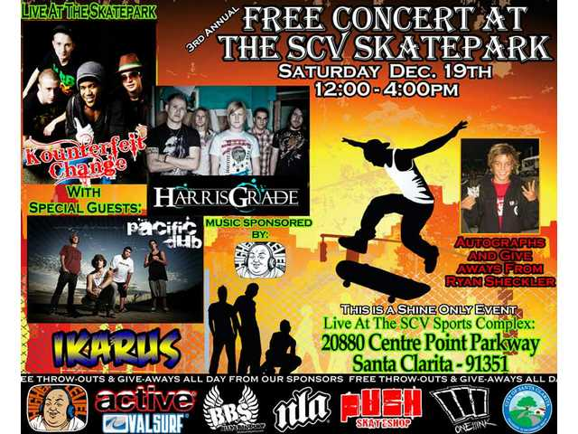 A free concert at the Santa Clarita Skate Park Saturday, Dec. 19, starts at noon.