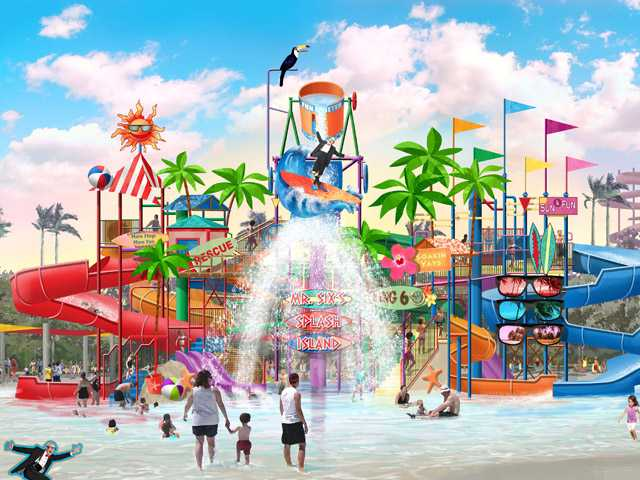 Six Flags Hurricane Harbor opens a new attraction called Mr. Six's Splash Island this season.
