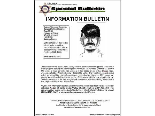This alert with composite sketch of the suspect at large in the attempted kidnapping of an 11-year-old boy in Tesoro Del Valle Oct. 12 was released by the Santa Clarita Valley Sheriff's Station Monday night, Oct. 19.