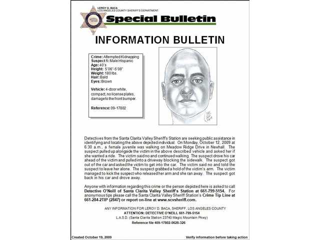 This alert with composite sketch of the suspect at large in the attempted kidnapping of a 15-year-old girl in Newhall Oct. 12 was released by the Santa Clarita Valley Sheriff's Station Monday night, Oct. 19.