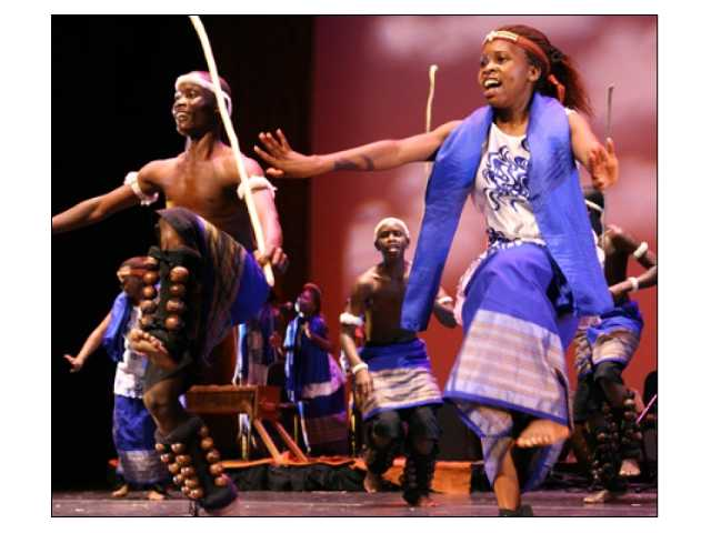 """Spirit of Uganda"" presents a cast of 22 ""marvelously spirited musicians and dancers"" (says the Village Voice) at the PAC Saturday night, Feb. 6."