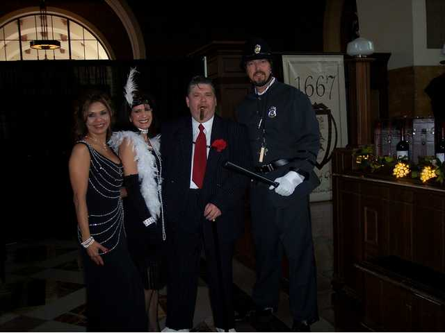 Left to right: Dora Zavala, Carol Maglione, Peter Goossens and Mike Henn of the Loose Goose Wine Society are dressed in character for the annual member celebration held Nov. 23 at Union Station in Los Angeles. More than 300 Loose Goose Wine Society members and guests attended.
