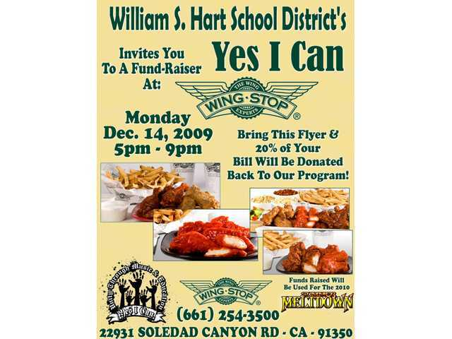 Print out this flyer, present it to the cashier at Wing Stop Monday, Dec. 14, from 5 p.m. to 9 p.m., and 20 percent of your purchase will go to the Yes I Can students to help fund the 2010 Summer Meltdown concert.