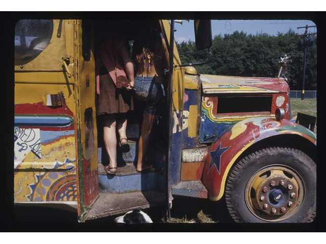 """Members of the San Francisco-based Hog Farm cooperative traveled in buses like this one to help feed the masses at the Woodstock Music & Art Fair Aug. 15, 16 and 17, 1969, in White Lake, N.Y. as seen in a photo from """"The Woodstock Experience"""" by Michael Lang and Henry Diltz, released by Genesis Publications in June 2009 to mark Woodstock's 40th anniversary."""