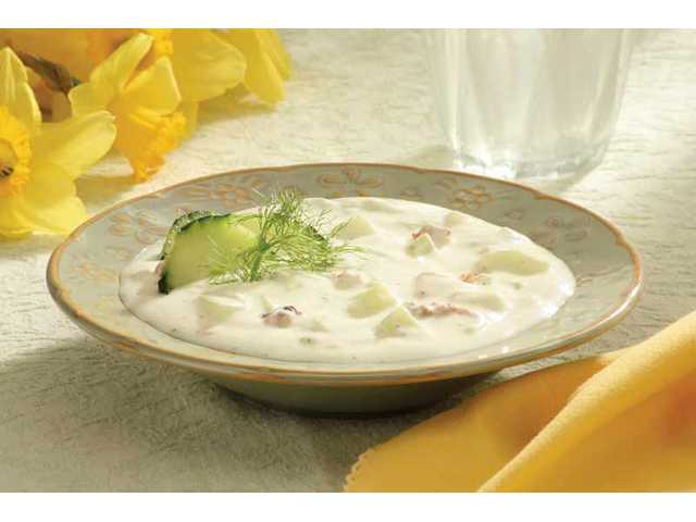 Chilled cucumber yogurt soup with fresh dill and walnuts: This chilled cucumber yogurt soup with fresh dill and toasted walnuts has all the velvety richness of a full-cream soup, but it's made with low-fat, high-calcium yogurt and is as cool as, well, a cucumber.
