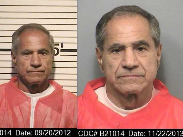 <p>These composite photos provided by the California Department of Corrections and Rehabilitation show Sirhan Sirhan from left, in Sept. 20, 2012, and Nov. 22, 2013. </p>