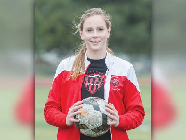 Hart's Sarah Lindborg had to fight her way onto the field
