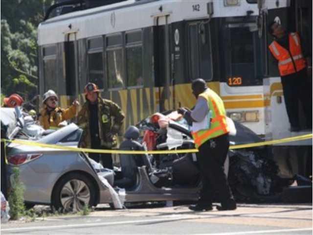 LA commuter train hits car, partially derails; 21 hurt