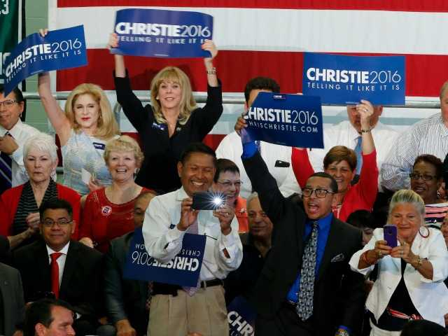 <p>Supporters hold signs before the start of an event where New Jersey Gov. Chris Christie is expected to announce he will seek the Republican nomination for president, Tuesday, at Livingston High School in Livingston, N.J. </p>