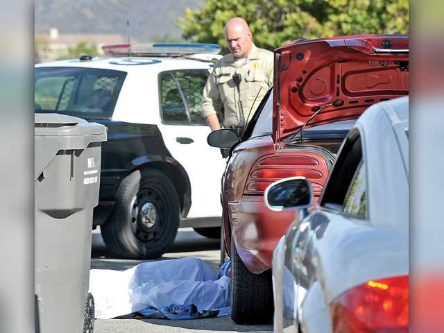 <p>A Santa Clarita Valley Sheriff's deputy and a homicide detective inspect the scene where a man's body was found in Canyon Country.</p>