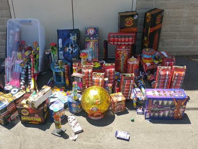 <p>Pictured are some of the illegal fireworks confiscated during Fourth of July patrols in the Santa Clarita Valley. Photo courtesy of Santa Clarita Valley Sheriff's Station Detective Josh Dubin</p>