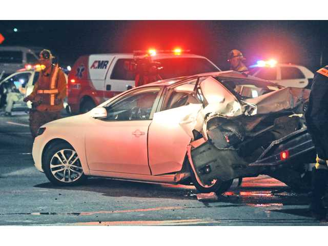 <p>A limousine carrying a group of revellers back to Saugus following a bachelorette wine-tasting tour in Santa Ynez slammed into a second vehicle Saturday night, leaving 12 people injured, including the bride-to-be.</p>