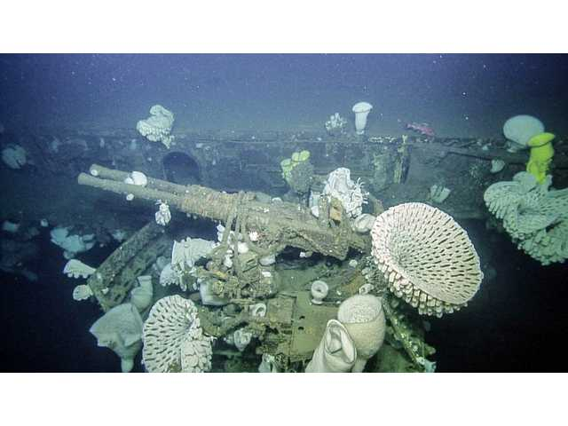 <p>This image provided by Ocean Exploration Trust/Nautilus Live, shows anti-aircraft weaponry surrounded by massive glass sponges on the sunken wreckage of the World War II-era aircraft carrier USS Independence, Tuesday, Aug. 23, 2016, located half a mile under the sea in the Greater Farallones National Marine Sanctuary off the coast near San Francisco, Calif.</p>