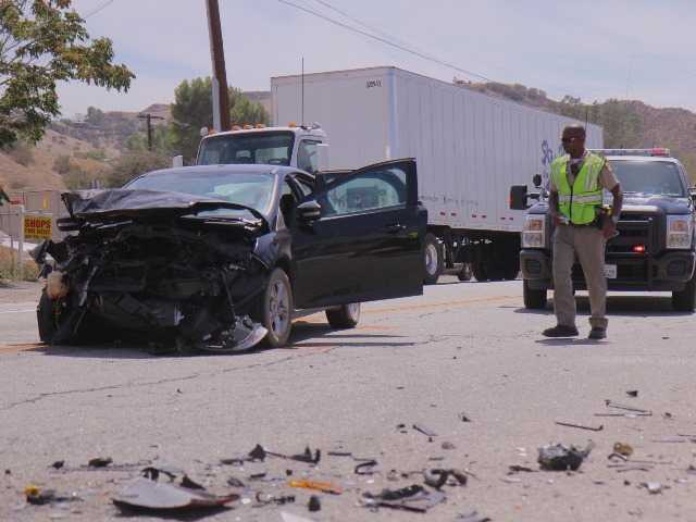 <p>One person was reportedly airlifted to the hospital with major injuries following a two-car crash near the intersection of Vasquez Canyon Road and Sierra Highway in Canyon Country. Signal photo by Austin Dave</p>