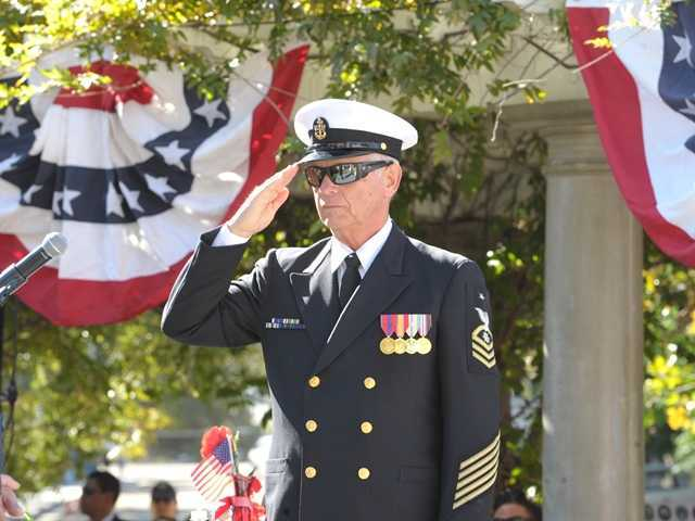 <p>Duane Harte salutes during the Nov. 11 Veterans Day event sponsored by the city of Santa Clarita at Veterans Historic Plaza in Newhall. A memorial service for Harte, who died suddenly Nov. 24, is scheduled Saturday. Signal file photo</p>