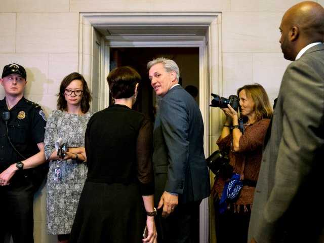 <p>House Majority Leader Kevin McCarthy of Calif., center, turns to his wife Judy McCarthy as they enter a House Republican caucus vote on its nominee to replace House Speaker John Boehner.</p>