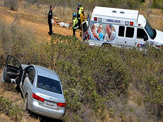 <p>A Hundai Sonata went off the nourthbound 5 freeway around 1:20 p.m. Saturday, resulting in minor injuries to one person. The person was transported to Henry Mayo Newhall Hospital for treatment. Photo by Rick McClure for The Signal.</p>