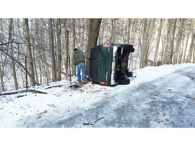 Icy conditions lead nurse to crash