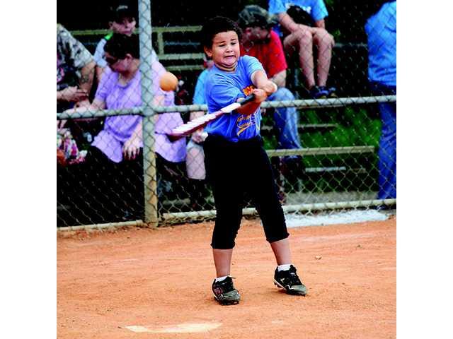 Co-ed softball action