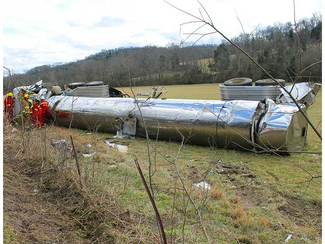 Overturned milk tanker results in airlift