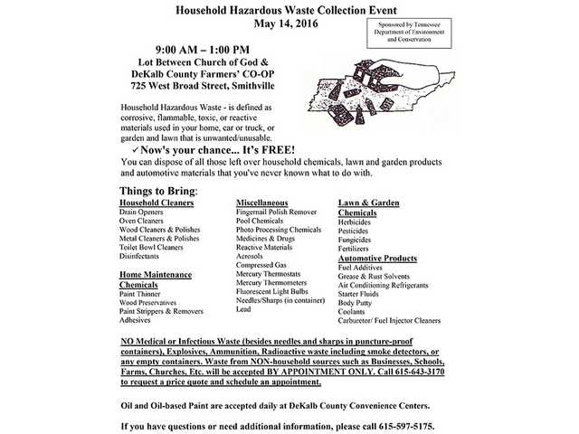 Household Hazardous Waste Collection Event May 14