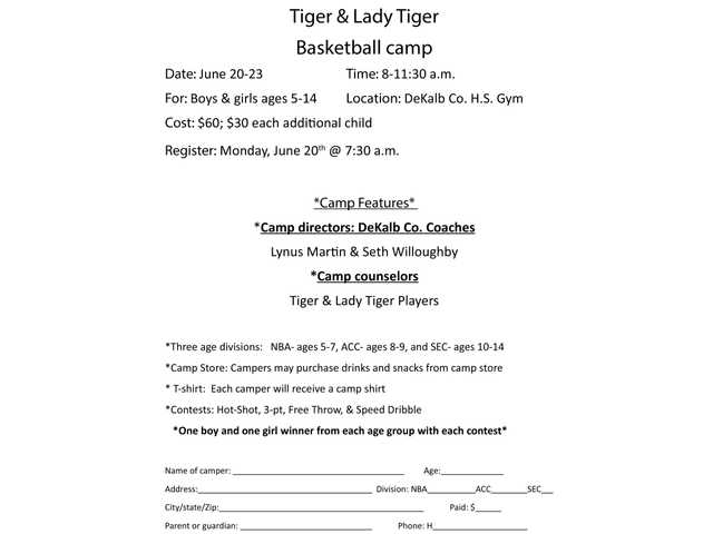 Tiger and Lady Tiger Basketball Camp set