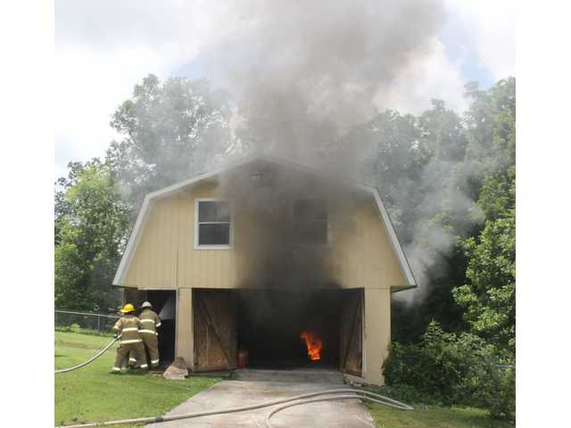 Fire damages garage