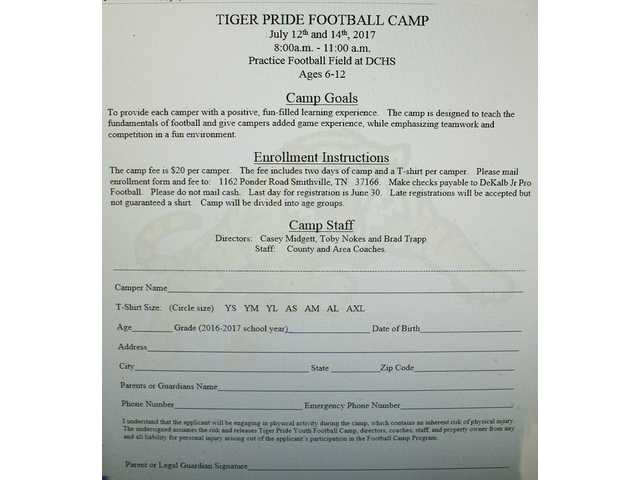 Tiger Pride Football Camp enrollment form