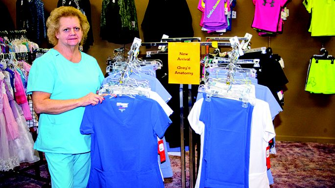 Steve Warner photo Pam Ball's Savvy Scrubs & More has everything a health professional can dream of plus a lot of quality children's clothes and shoes. Her newest line is Grey's Anatomy.