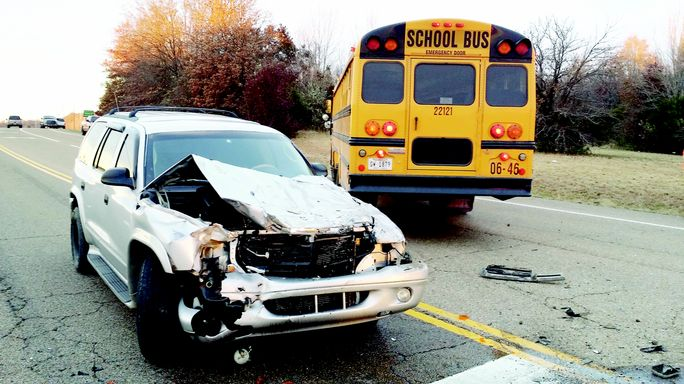 Six students hurt in school bus crash