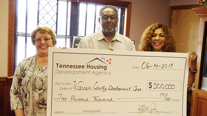 Pictured during the $500,000 grant announcement are, from left, Patricia Basham, McMinnville Housing Authority executive director, Marvin Lusk, McMinnville Housing Authority board member, and Denise McBride, Tennessee Housing Development Agency liaison.