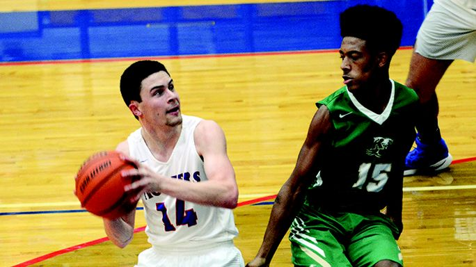 James Clark photo Chance Hobbs put on a shooting clinic to down the Rhea County Golden Eagles 80-67 Monday night at Charlie Dalton Gym. Hobbs scored a season-best 28 points, including swishing eight 3-pointers, to help the Pioneers improve to 16-3.