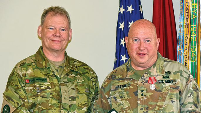 Major Gen. Haston receives honor from Denmark Guard